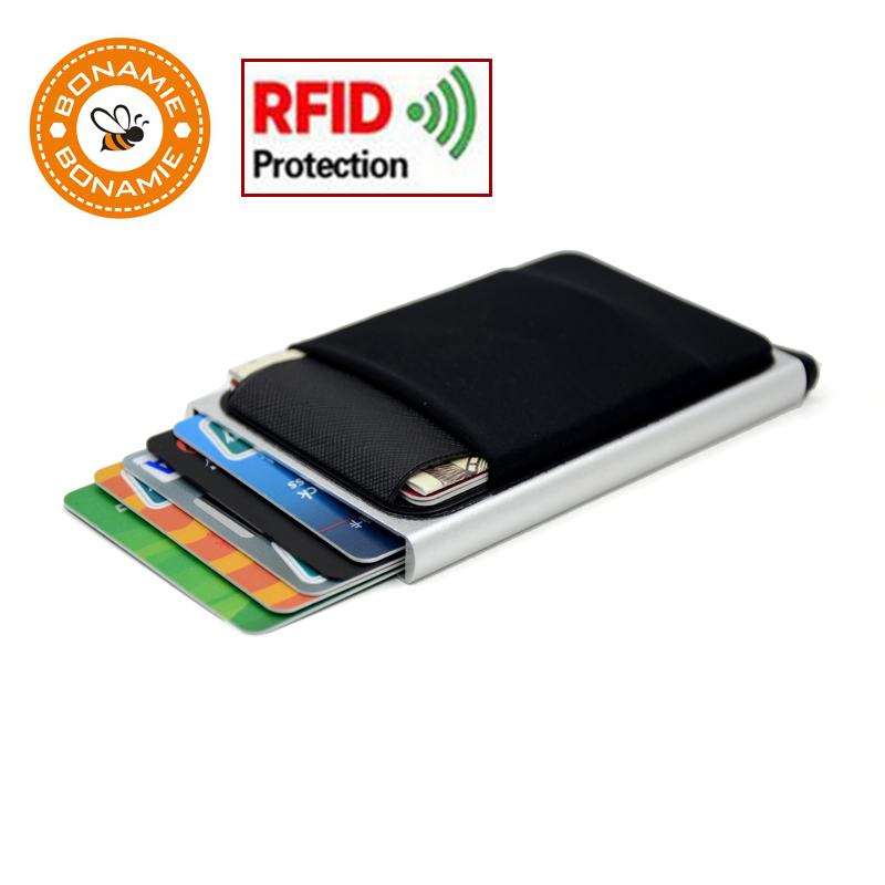 BONAMIE Slim Aluminum Wallet With Elasticity Back Pouch ID Credit Card Holder Mini RFID Wallet Automatic Pop Up Bank Card Case