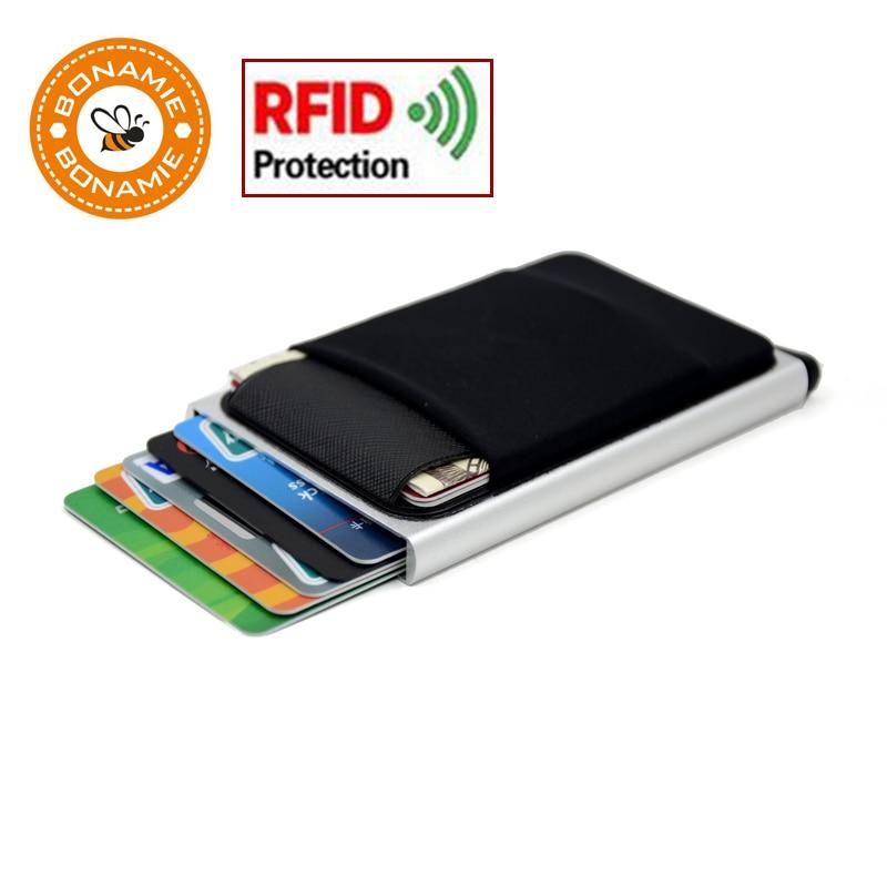 Bonamie carteira de alumínio magro com elasticidade volta bolsa id titular do cartão de crédito mini rfid carteira automática pop up caso do cartão de banco
