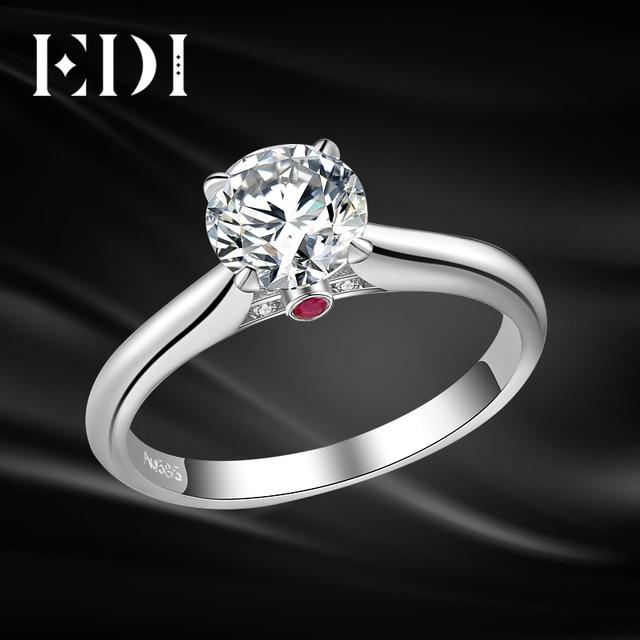 Us 3655 15 Offedi Solitaire Rubin 1ct Brilliant Moissanite Diamant Hochzeit Ringe Für Frauen 14 Karat 585 Weiß Gold Engagement Bands Edlen Schmuck