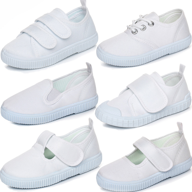 Girls White Canvas Shoes for Dance Boys Sneakers Kids Running Shoes Vulcanized Shoes Children Footwear Girl School Shoes
