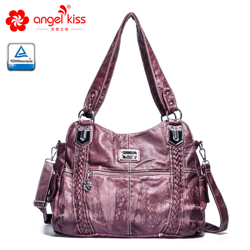 Angelkiss Fashion High Quality Casual Designer Hobos Tote Handbag Women Bags Washed PU Leather Shoulder Sling