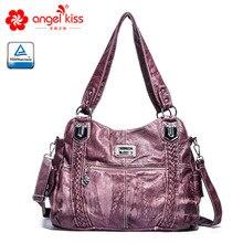 Angelkiss модная высококачественная повседневная дизайнерская вместительная сумка-тоут женские Сумки из искусственной кожи с эффектом потертости женские сумки на ремне