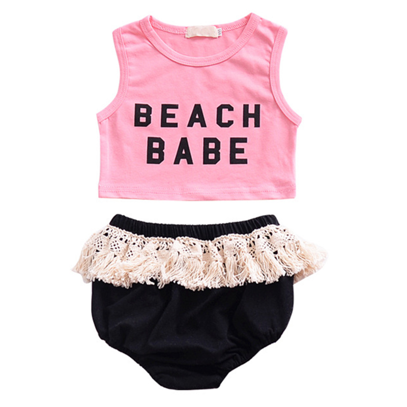 Summer Baby Girl Clothing Set Cotton Baby Girl Clothes 2pcs Newborn Baby Clothes Roupas Bebe Pink Vest Infant Jumpsuits Beach