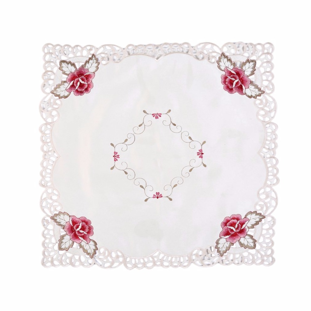 New 3 Sizes Unique Hollow Out Embroidered Tablecloth Rose Red Flower  Pattern Square Shape Garden Beauty