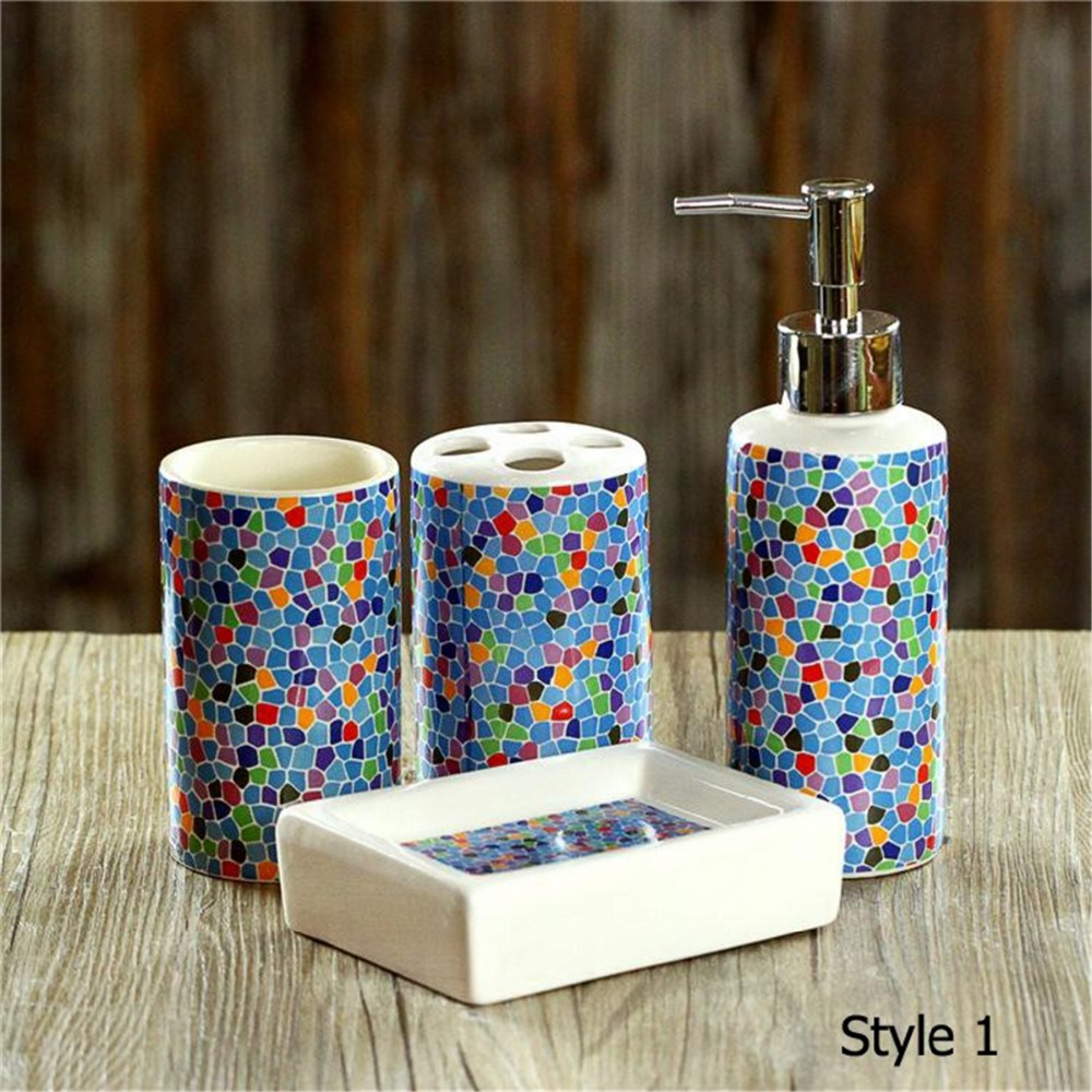 Buy 4 Pcs Set Fashion Mosaics Ceramic Bathroom Accessories S