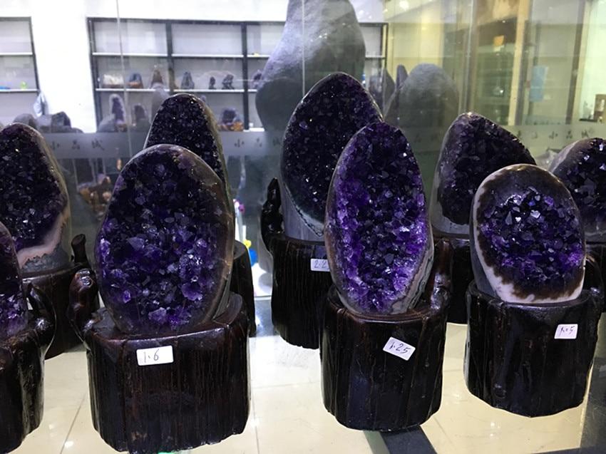 600g ametyst bryła kryształowa geoda ametystowa z uruguary próbki geoda ametystowa naturalne kamienie i minerały w Kamienie od Dom i ogród na  Grupa 1
