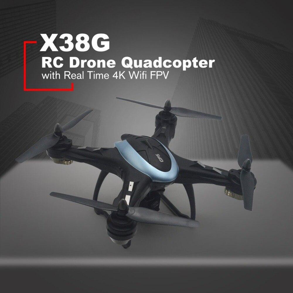 X38G Intelligent Selfie GPS RC Caméra Drone 4 K quadrirotor avec temps Réel Wifi FPV LARGE Angle De planer Un Clé retour Sans Tête Mode