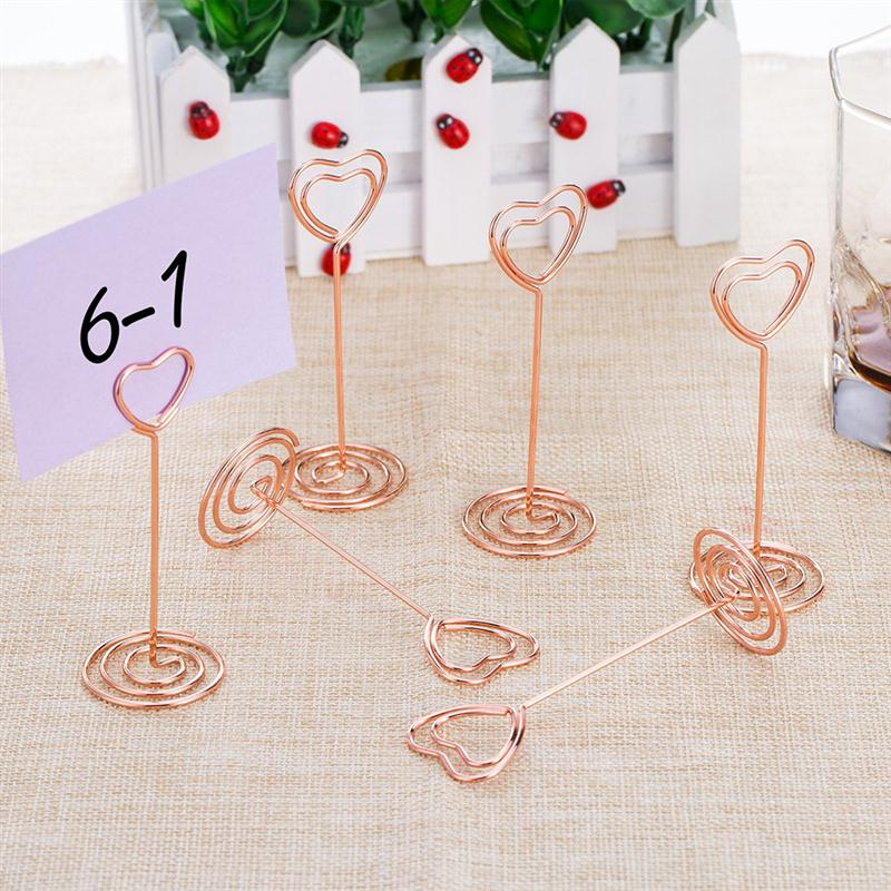 12pcs Rose Gold Heart Shape Photo Holder Stands Table ...