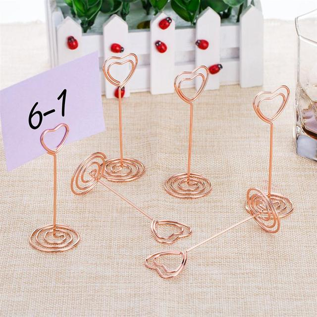 Genial 12pcs Rose Gold Heart Shape Photo Holder Stands Table Number Holders Place  Card Paper Menu Clips