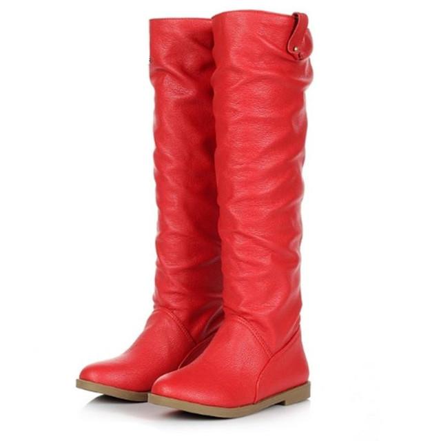 Mujeres Rodilla Botas tamaño Grande 34-43 zapatos de Tacón Plano Redondo Toe Primavera Otoño Al Aire Libre Zapatos de Invierno Corto de Piel Caballero Clásico botas