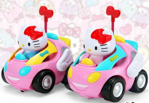 Hello Kitty Toys Car Controller Children RC KT Cat Remote Control Car Doraemon Pink Electric With Music Light Kids Gift car accessories hello kitty cartoon car stickers warning with children kt133 free shipping