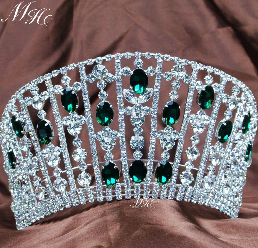 تيجان ملكية  امبراطورية فاخرة Esmeralda-grande-redondo-Tiaras-Rhinestones-verdes-cristal-coronas-boda-nupcial-partido-Prom-desfile-diadema-joyer%C3%ADa-del
