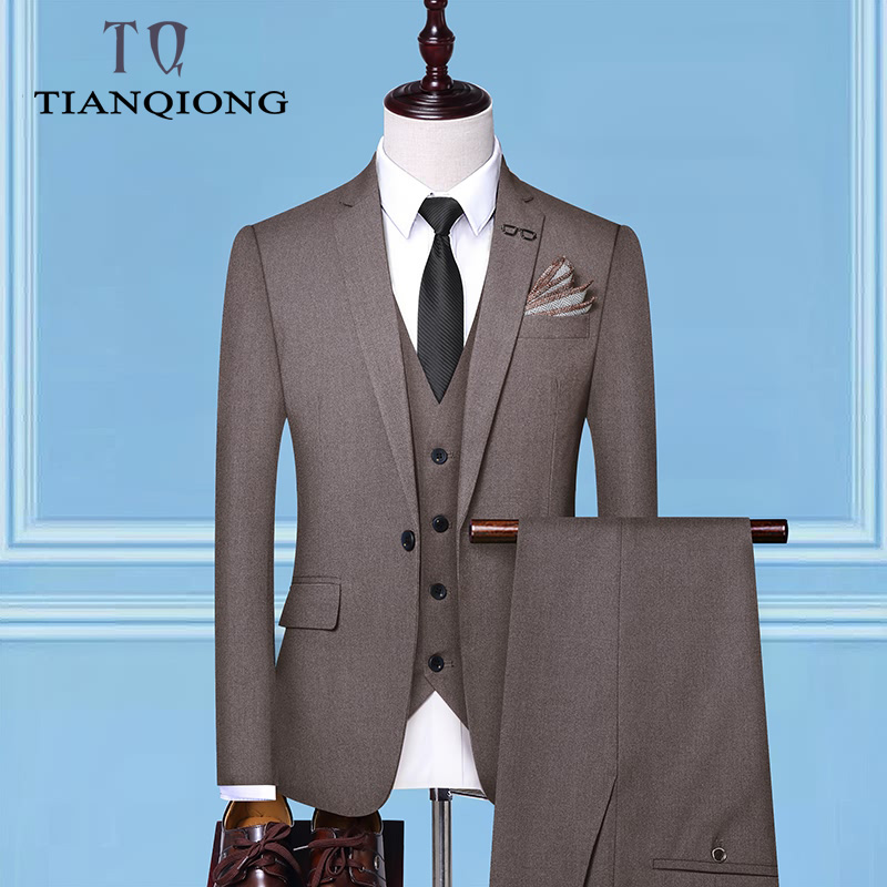 (Jacket+Vest+Pants)Men's Business Suit Casual High Quality Single Button Wedding Male Solid Color 3 Piece Suits Sets Blazers