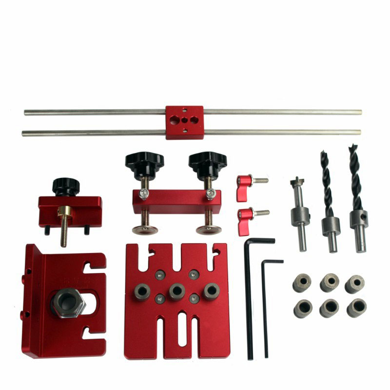 3 en 1 menuiserie trou perceuse perforateur positionneur Guide localisateur gabarit menuiserie système Kit alliage d'aluminium bois travail bricolage outil - 6