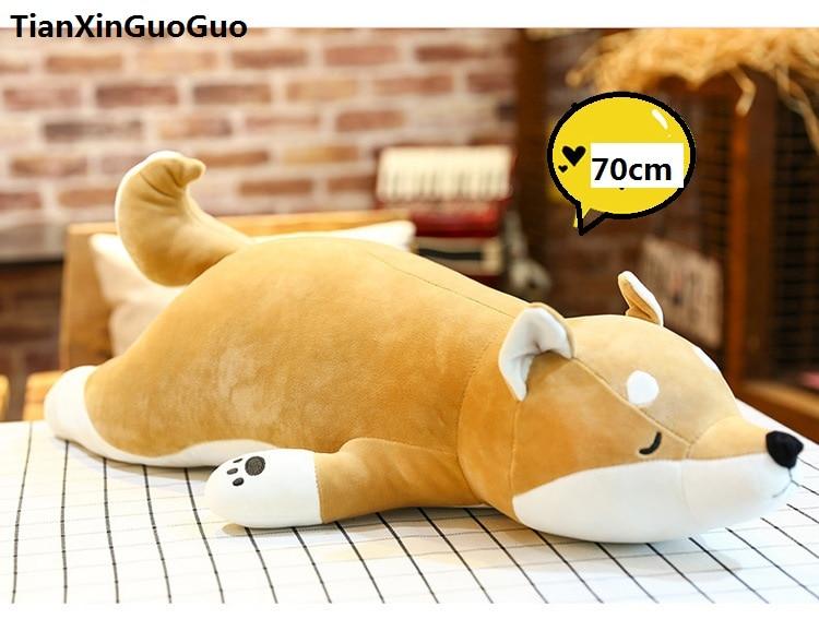 Dolls & Stuffed Toys Lovely Cartoon Corgi Dog Plush Toy Large 60cm Yellow Prone Dog Soft Doll Throw Pillow Birthday Gift B2778
