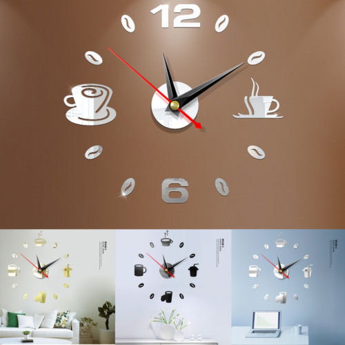 Faroot New Creative Modern Acrylic DIY Wall Clock 3D Self-adhesive Sticker Home Office Kitchen Decor HOT UK