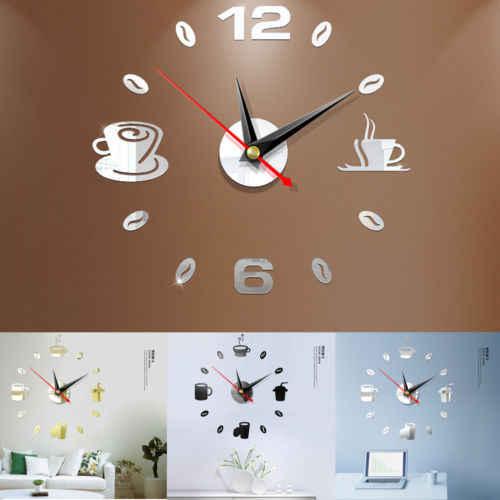 Faroot جديد الإبداعية أكريليك حديث لتقوم بها بنفسك ساعة حائط ثلاثية الأبعاد ذاتية اللصق ملصق المنزل مكتب ديكور مطبخ الساخن المملكة المتحدة