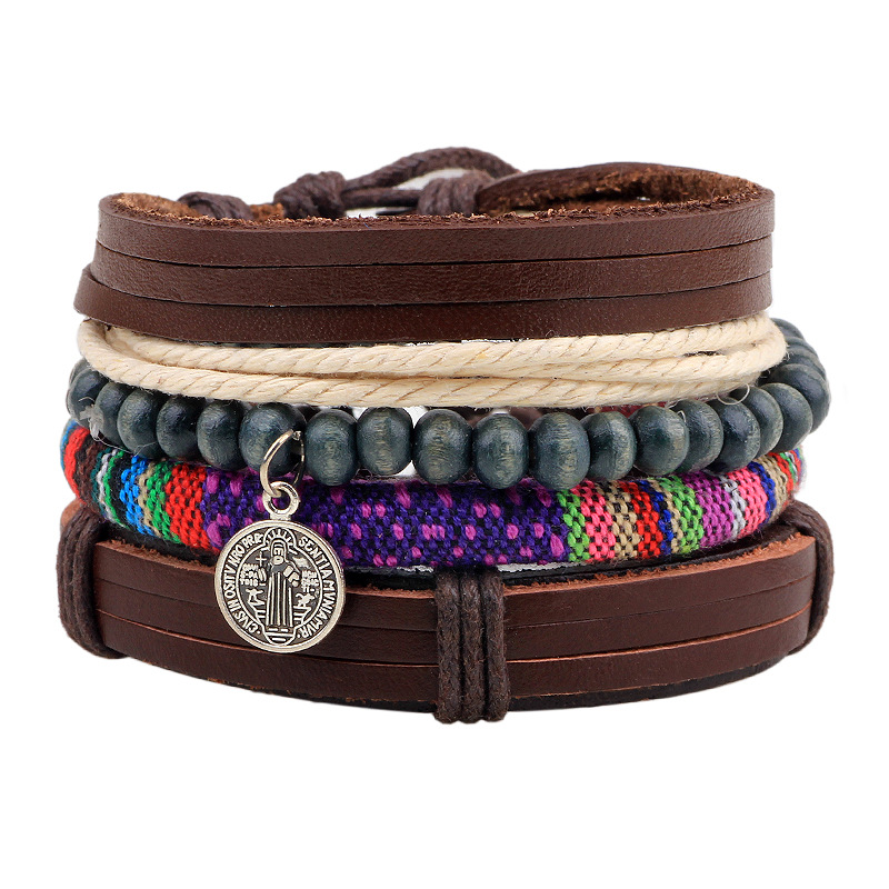 4pcs/set Handmade Boho Gypsy Hippie Trendy Vintage Charm Stacked Wrap Layers Bracelets Men Leather Bracelet For Women Jewelry