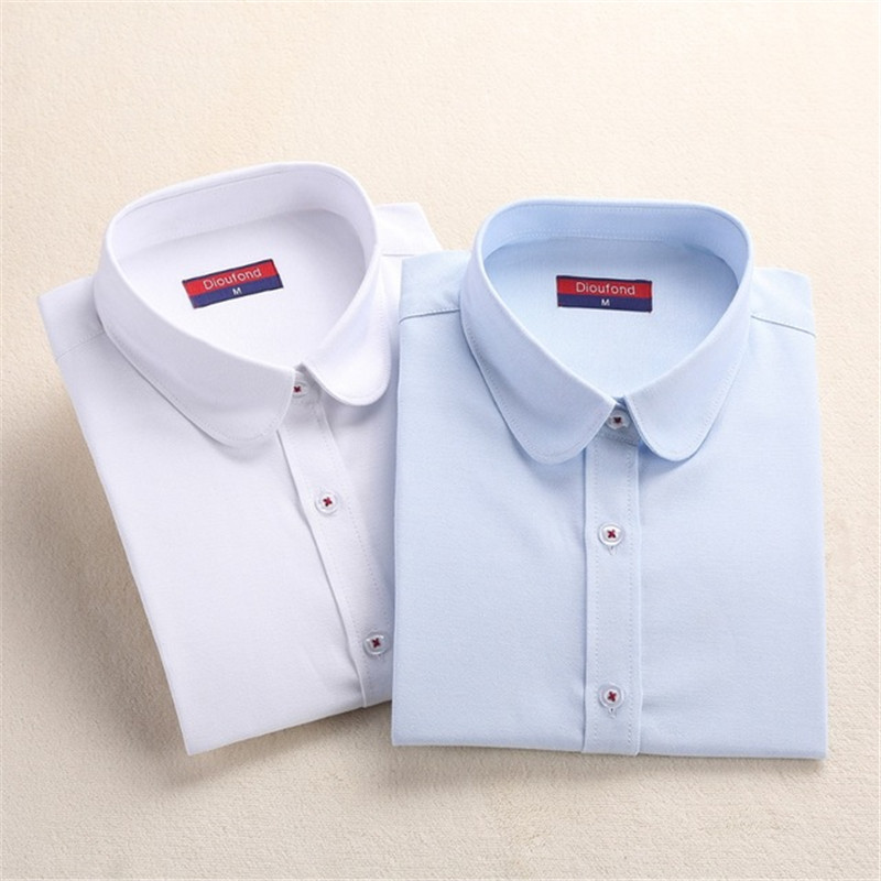 Dioufond Women White Long Sleeve Oxford Shirts Casual School Wear Cotton Blouse Ladies Office Tops Student Blusas New Plus Size