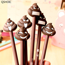 48pcs/lot Creative Stationery Funny Cartoon Poop Shit Stool Gel Pen 0.5mm Black Ink Office School Pens Promotion Gift 48pcs lot fresh beautiful 3d flower design gel pen 0 38mm black funny gift office school stationery supplies hy global wholesale