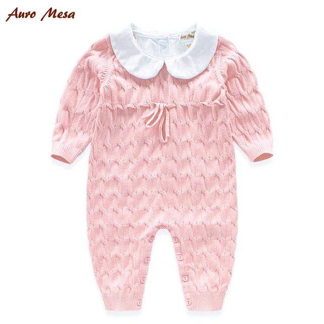 Aguas Termales Del Bebé Que Hace Punto Rosa Del Mameluco de Una sola pieza 100% Algodón Recién Nacido Bebes Mono