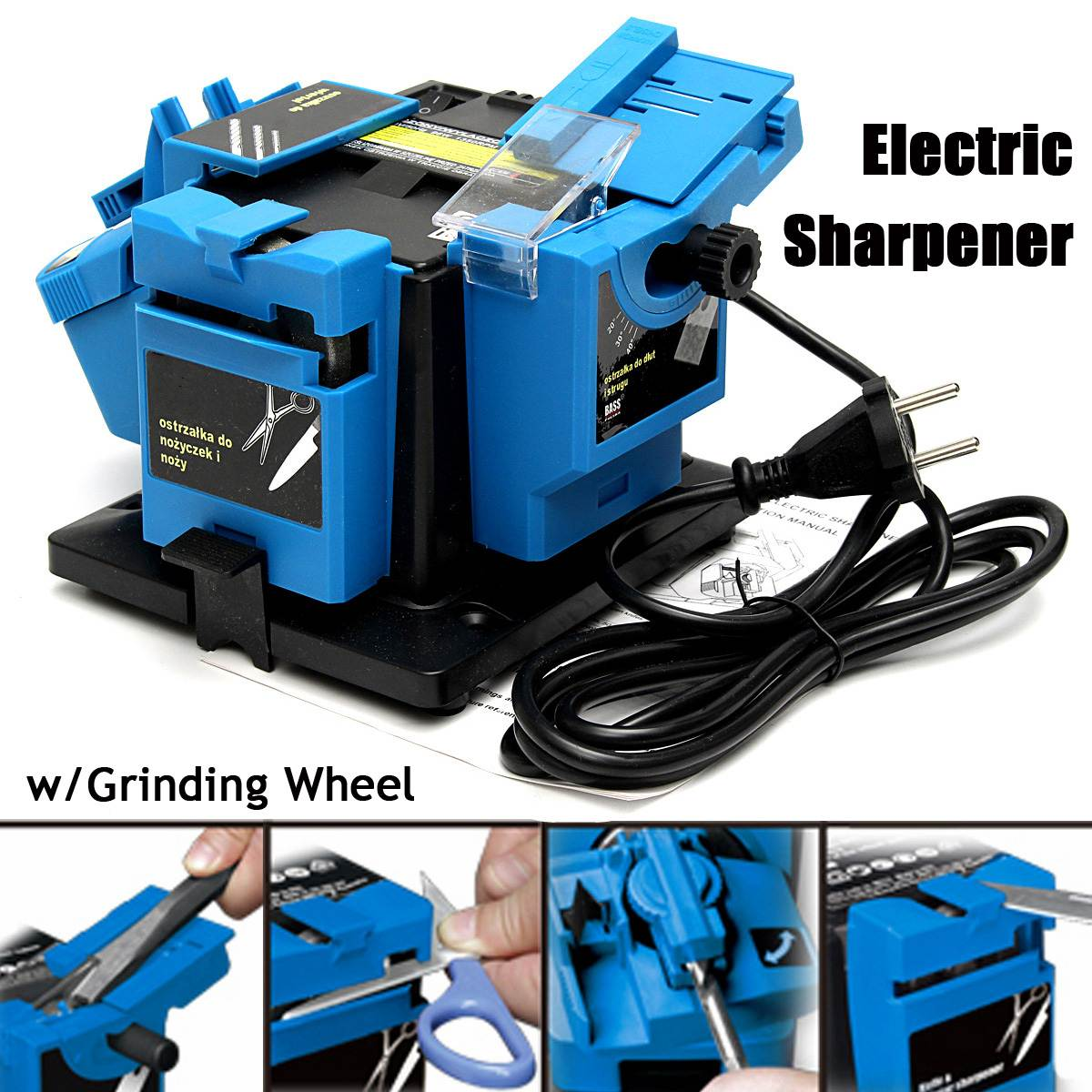 220V Electric Household Sharpener Grinding Tool HSS Drill Bit Knife Scissor Sharpener Grinder