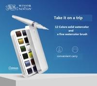 WINSOR&NEWTON cotman portable solid watercolor paint 12 colors +paintbrush set pigment art supplies