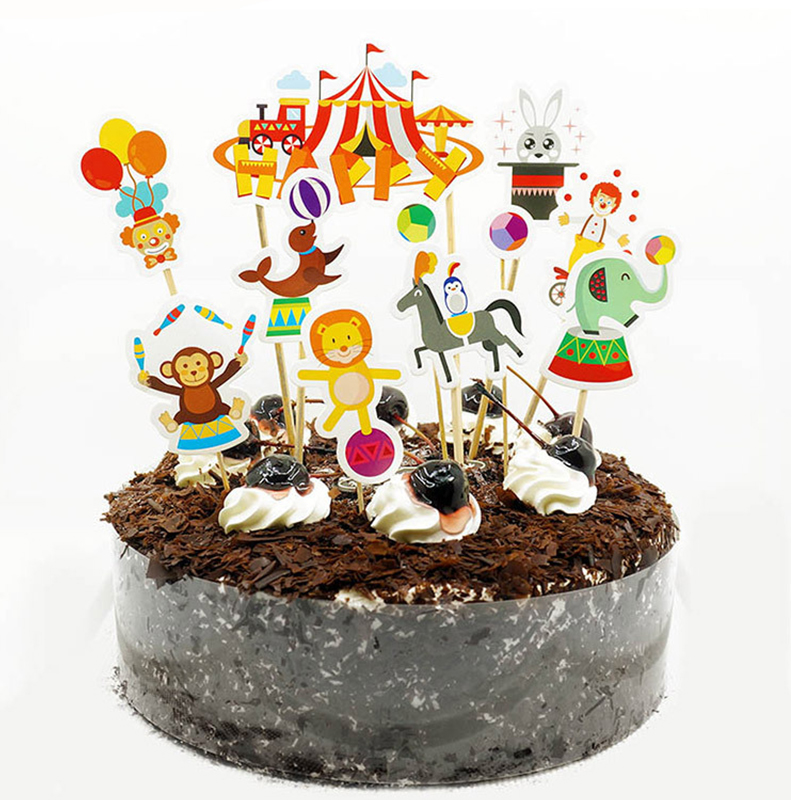 11pcs Set Circus Cake Toppers Jungle Safari Party Supplies Zoo Animal Topper Decoration Kids 1st Birthday Baby Shower Favor