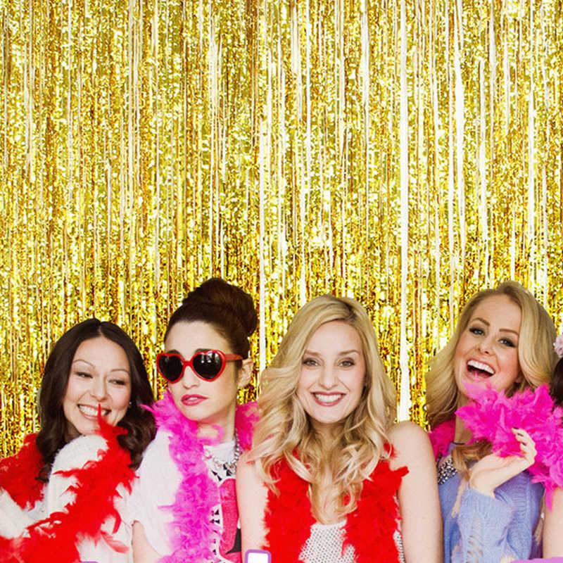 1*3 m azul rosa ouro rosa cintilante folha fringe porta cortina de enfeites festa de aniversário casamento decoração foto pano de fundo fontes