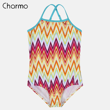 Charmo Girls One Piece Swimsuits Flower Print Swimwear Kids Cute Bikini Adjustable Strap Beach Wear Child Wave One-Piece suits