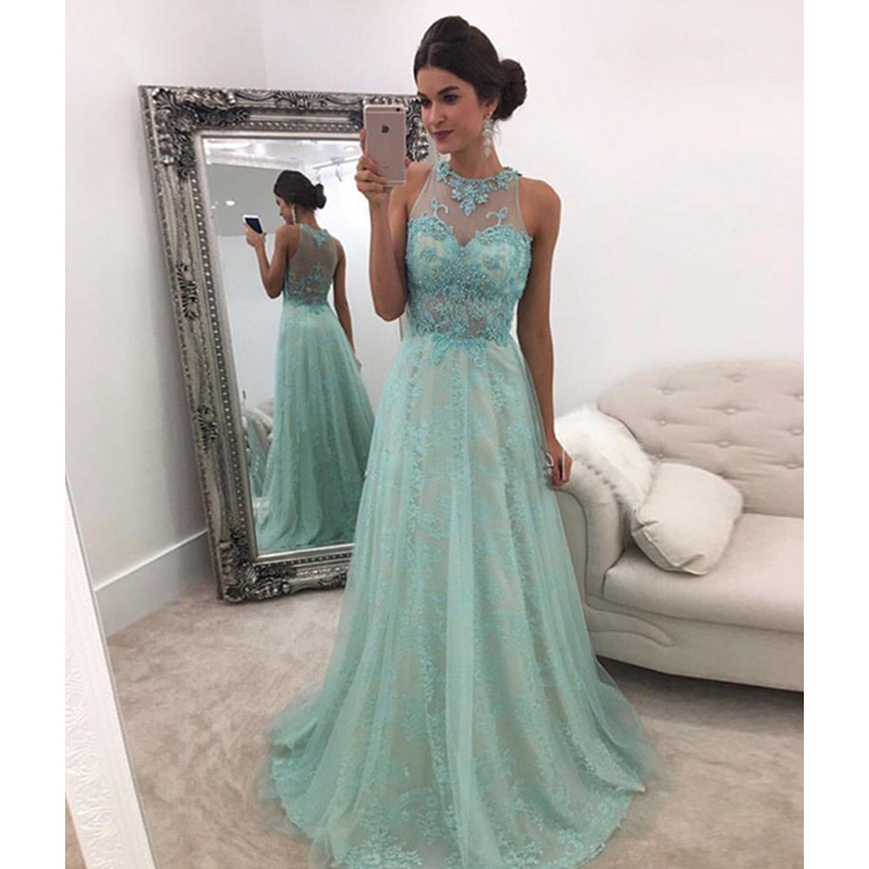 Scalloped Long   Prom     Dresses   A Line Sleeveless Pearls Beading Illusion Back Applique Evening Formal Party   Dress   Vestido De Fiesta