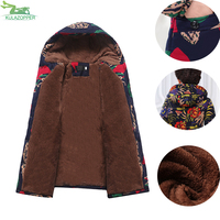 Plus Size Parka Middle Aged Women S Winter Print Coat Thickening Warm Of The Grandmother S