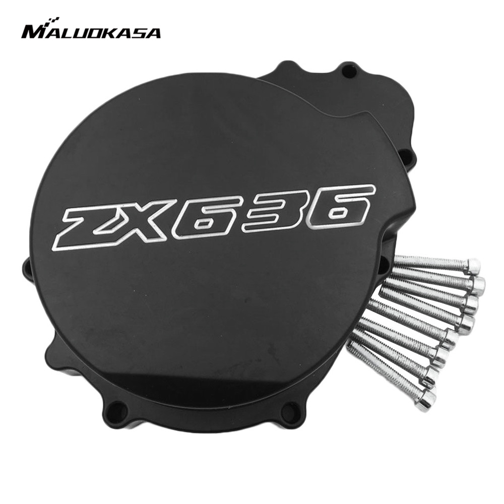 MALUOKASA Motorcycle Aluminum Engine Stator Cover For Kawasaki ZX-6R ZX636 ZX 636 2003 2004 Moto Crankcase Replacement Part ZX6R aluminum water cool flange fits 26 29cc qj zenoah rcmk cy gas engine for rc boat
