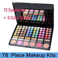 50pcs free shipping Fashion pro 78 Colors Eye Shadow Palette Powder Makeup Brush Cosmetic Mirror BOX with Women Makeup Tools Kit