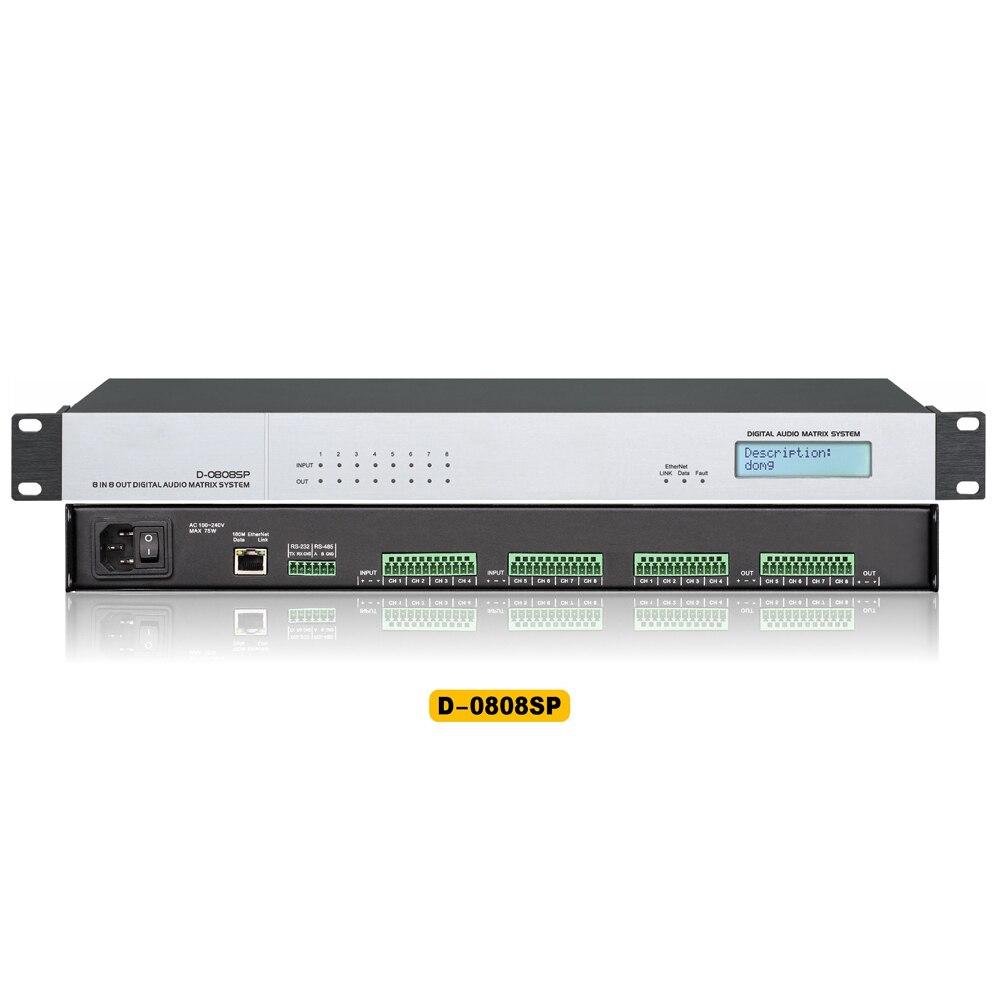 Processeur de matrice Audio numérique D-0808SP pour système de son 8 entrées et 8 sorties processeur Audio numérique DSP 8x8 haute performance