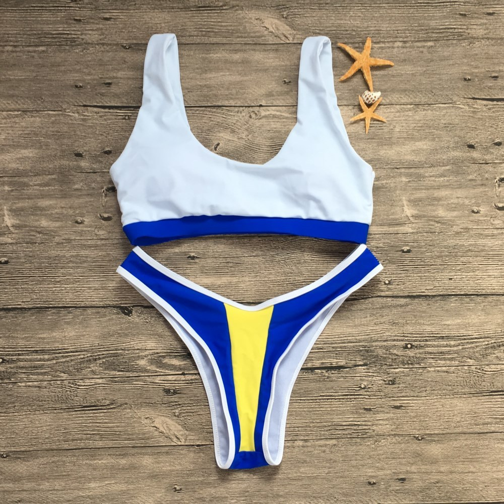 24c81a7cca1ff 2019 Tank Top Bikini Set Push Up High Leg Cut Swimwear Sexy Swimsuit ...