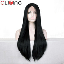 Alizing Front Lace Wig Black Color T Part lace frontal Wig Synthetic Hair Long Straight Lace Front Wigs For Africa k059