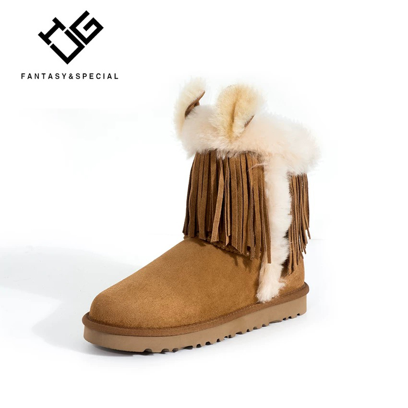 IGU Women Boots Keep Warm Women Shoes Tassel Winter Warm Snow Boots Round Toe Ankle Boots Winter Platform Botas Mujer Booties