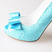 Turquoise aqua lace bow shoes wedding party shoes - peep toe open toe heels pumps green blue heels handmade w/ soft pad