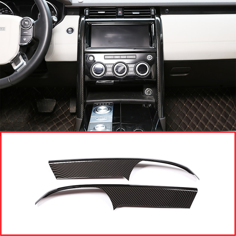 Carbon Fiber Style ABS Center Console Decoration Strips Trim Accessories For Land Rover Discovery 5 LR5 2017 Car-styling 2pcs car abs matte chrome center console panel molding trim for land rover discovery 4 2010 2016 accessories car styling