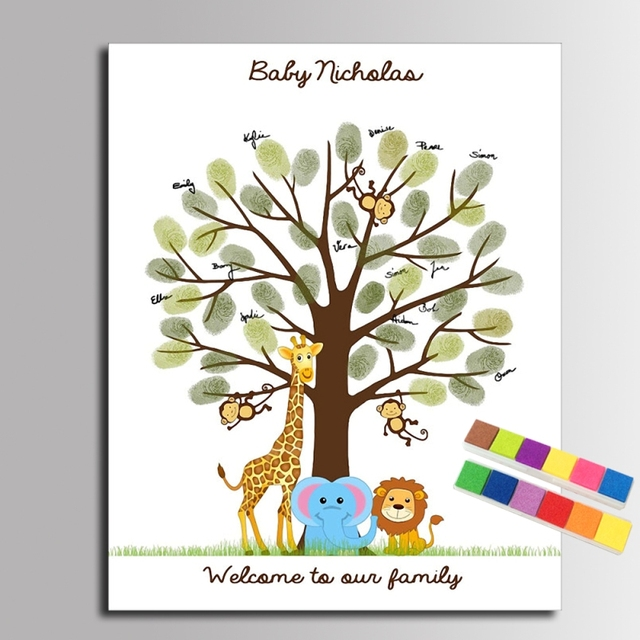 DIY Fingerprint Tree Signature Canvas Painting Animal Family For Baby Shower  Decoration Gift Guest Book