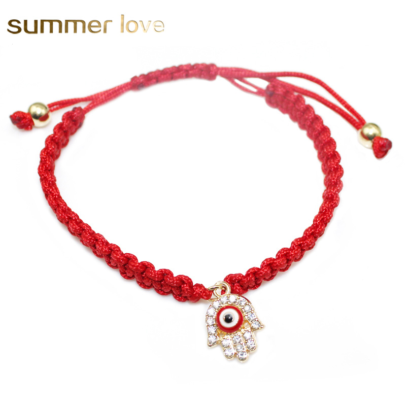 10 pcs/lot Handmade Rope Braided Bracelets Red Thread Turkish Crystal Lucky Hamsa Hand Love Evil Eyes Charm Bracelets Lady Gifts
