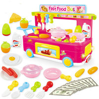 Kids kitchen Toys Interesting Bus Dining Car Cooking Shopping Set Trolley Role playing Games Pretend Play Food Girl Toys Gift