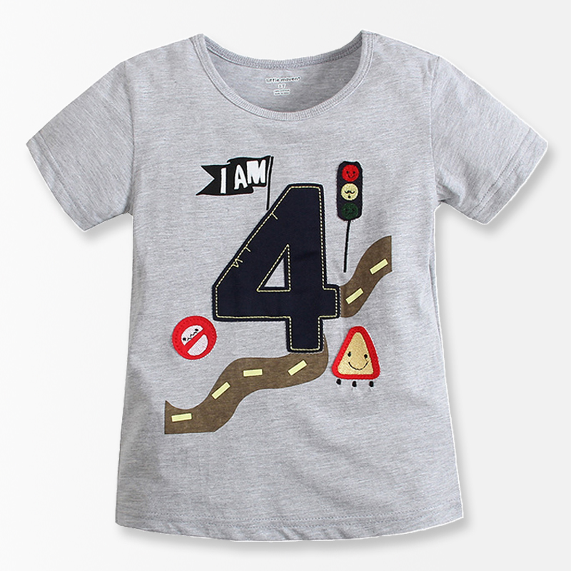 Number Series No 4 Print Baby Boys T Shirt 2016 Brand