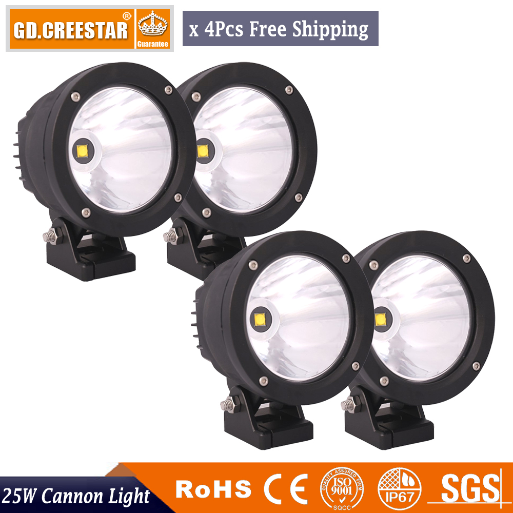 25Watts 4.7inch round LED Driving Light Narrow beam spotlights work light Cannon Lamp for SUV OFFROAD Tractor ATV x4pcs