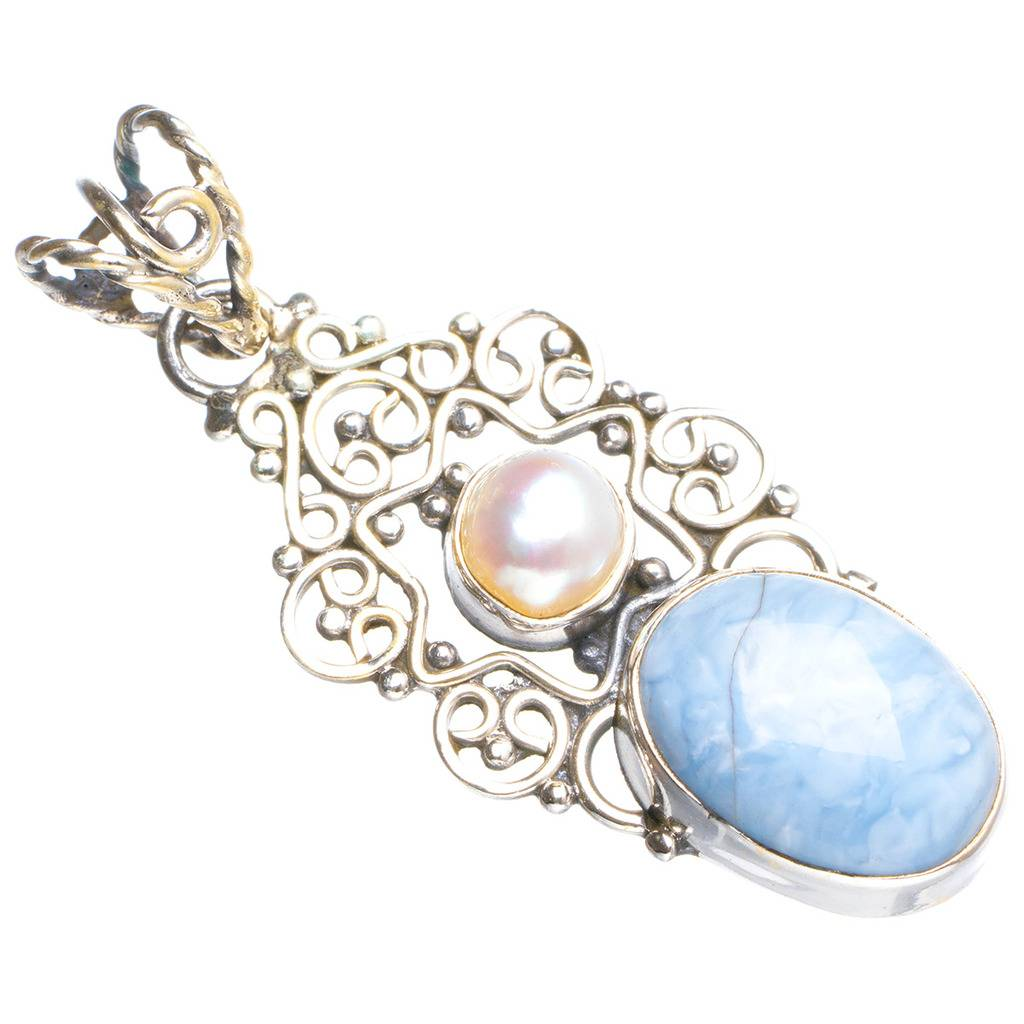 Natural Owhyee Opal and River Pearl Handmade Unique 925 Sterling Silver Pendant 1.75