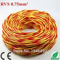 Весь рулон 100 м ZR rvs 2 * 0.75 мм Площадь красный и желтый нити витая пара лампа линии Медь ce и rohs электронная Провода проводник