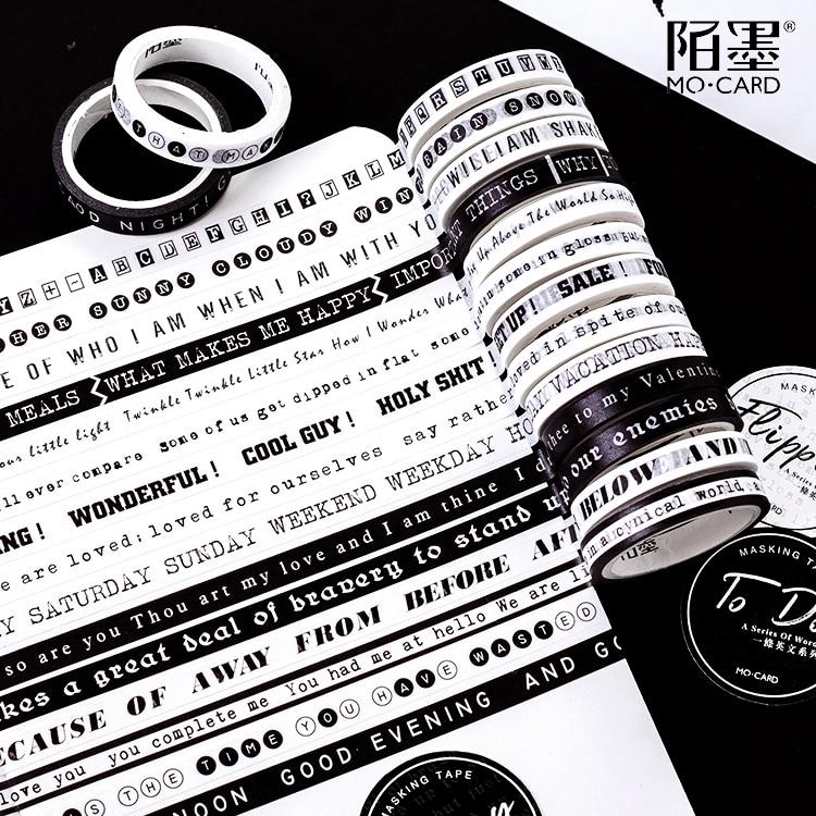 0.7CM Wide Black And White English Series Slim Washi Tape DIY Scrapbooking Sticker Label Masking Tape School Office Supply
