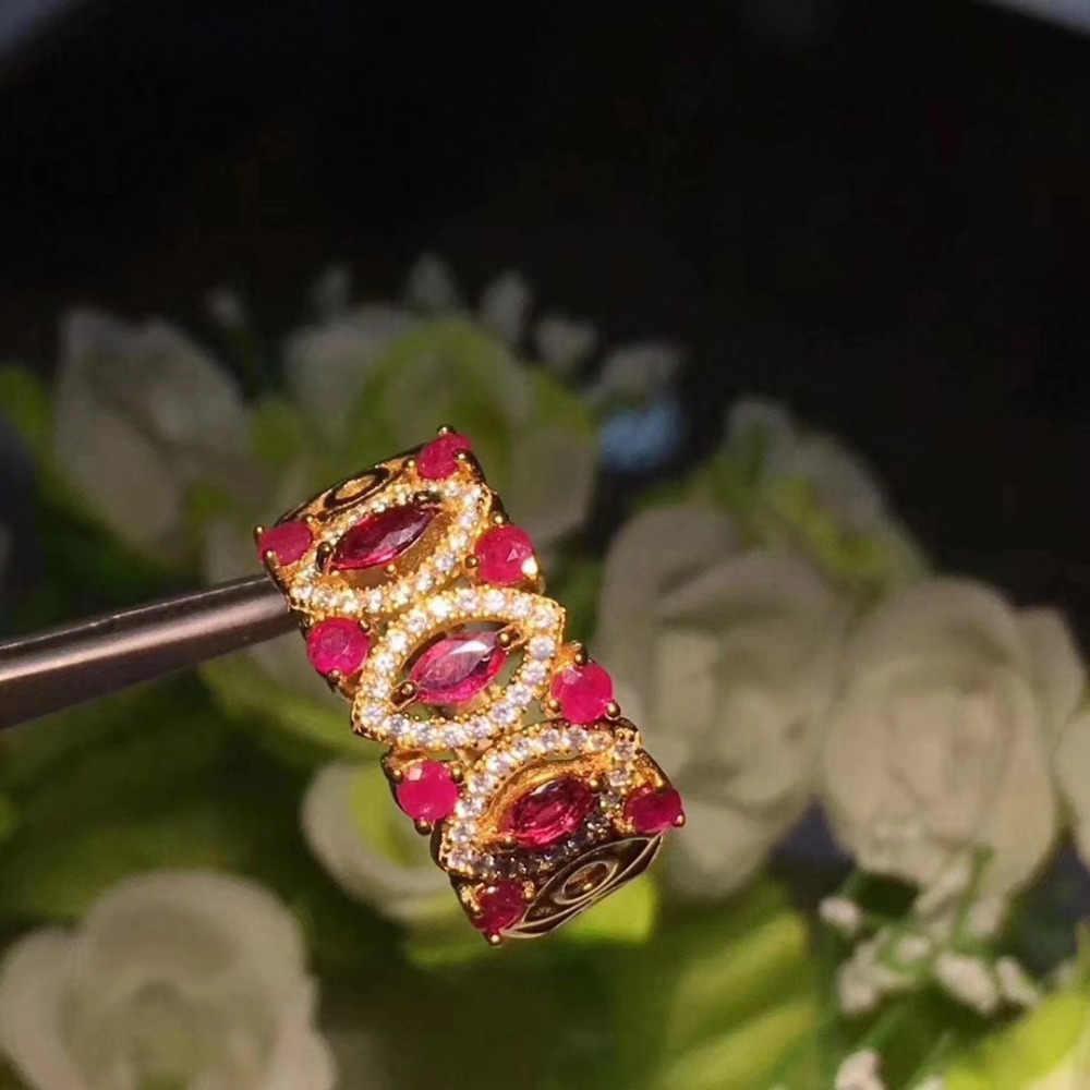 Fidelidade Natural 2.5*5mm rubi Anéis s925 prata esterlina oco noble belas Jóias para mulheres casamento vermelho Natural pedra preciosa
