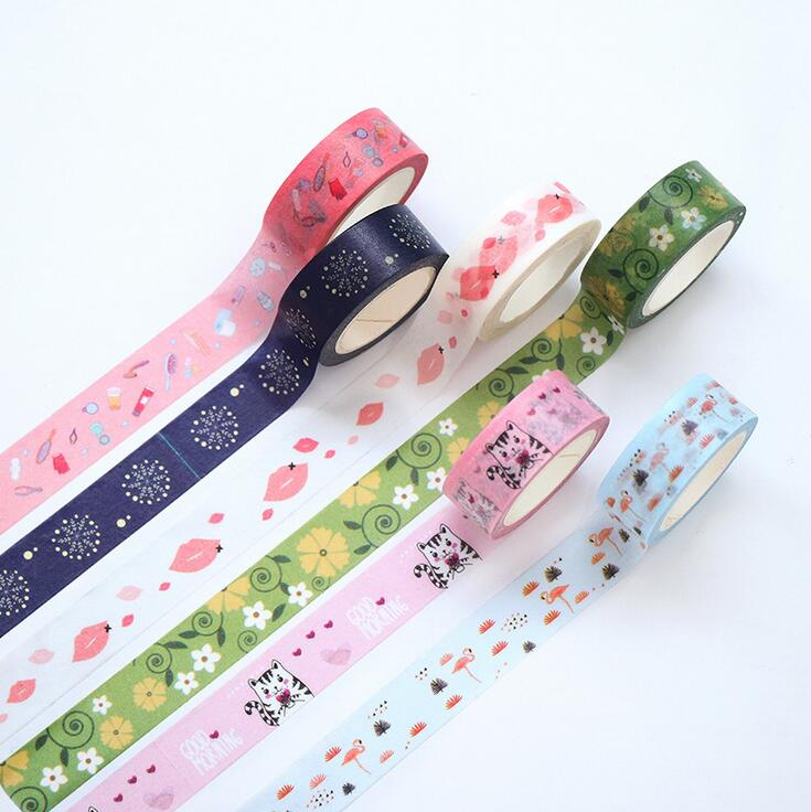 1.5cm Wide Love You Lips Snow Dinosaur Flamingo Decorative Washi Tape DIY Scrapbooking Masking Tape School Office Supply желе пудинг snow love 10